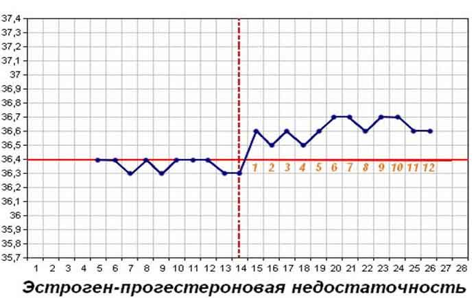 График БТ при эстроген-прогестероновой недостаточности